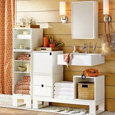 Nichos para guardar coisas e decorar o banheiro