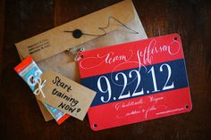 race bib invitations? or maybe name tags