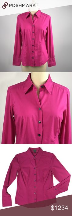 "Ann Taylor Factory Button Down Ann Taylor Factory stretch pink blouse. Button down. In excellent condition. No signs of wear or flaws. Size 4. Bust: 17"" / Length: 23"". Cotton/ spandex. Machine washable. Thank you for visiting! Happy Poshing! 279 Ann Taylor Tops"