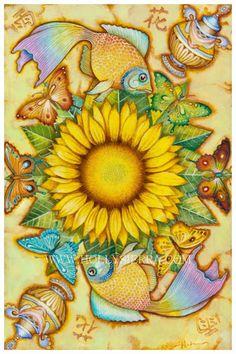 The Golden Flower  Magical Sunflower Mandala by HollySierraArt, $35.00