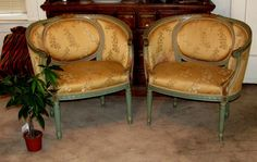 Gorgeous Polychrome French Louis XVI Corbeille Bergere Chairs Scalamandre Silk | eBay