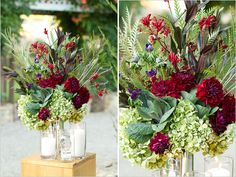 Ceremony flowers - larger arrangement with jeweled colors. Whimsical Wedding, Red Wedding, Floral Wedding, Wedding Ideas, Wedding Fun, Wedding Things, Lantern Centerpieces, Floral Centerpieces, Wedding Centerpieces