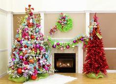 ideas de lazos de colores vibrantes para decorar el árbol de navidad