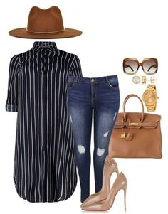 A fashion look from January 2016 featuring Boohoo jeans, Christian Louboutin pumps and Hermès handbags. Browse and shop related looks. Mens New Years Eve Outfit Mode Outfits, Chic Outfits, Fall Outfits, Fashion Outfits, Womens Fashion, Fashion Trends, Ladies Fashion, Long Shirt Outfits, Heels Outfits