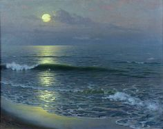 Lever De Lune Painting - Moonrise by Guillermo Gomez y Gil Moonlight Painting, Sky Painting, Seascape Paintings, Oil On Canvas, Canvas Art, Canvas Prints, Fine Art Amerika, William Adolphe Bouguereau, Winslow Homer