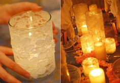 How To Make A Lace Candle Holder by Using Mod Podge to glue lace to a jar or glass and adding a battery candle and trim.