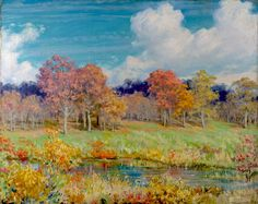 The Athenaeum -Autumn Landscape Charles Courtney Curran - 1928 Painting - oil on canvas Height: 76.71 cm (30.2 in.), Width: 40 cm (15.75 in.)