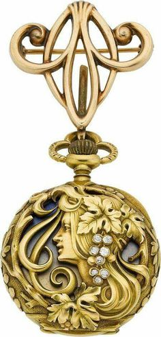 Haas Neveux & Co. Very Fine Art Nouveau Gold, Enamel & Diamond Watch, circa 1905 Case: yellow gold, four - Available at 2014 May 22 Timepieces. Bijoux Art Nouveau, Art Nouveau Jewelry, Jewelry Art, Antique Jewelry, Vintage Jewelry, Fine Jewelry, Jewelry Design, Gold Jewelry, Jewellery