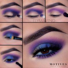 How fun is this blue and purple smokey eye from Elena Marino ? - Make up looks - Eye-Makeup Eye Makeup Steps, Makeup Eye Looks, Beautiful Eye Makeup, Eye Makeup Art, Smokey Eye Makeup, Cute Makeup, Skin Makeup, Eyeshadow Makeup, Makeup Inspo