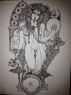 "ballad-of-d-spacecowboy: ""Hel (Norse God of the underworld) Tattoo design study done. Inspired by Alphonse Mucha's Art nouveau style of work with a little of the Norse mythology slightly added into the mix. Kinda like how i added the tattoo on her..."