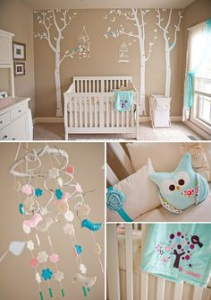 Soft, serene nursery with touches of pink and aqua. Design and photos by Angela Blake Photography.