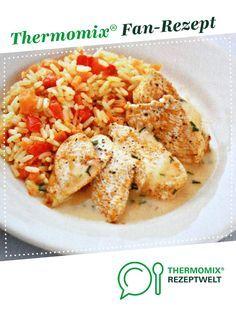 Hähnchen mit Paprika-Möhren-Reis & Sauce von Kris Tina. Ein Thermomix ® Rezept aus der Kategorie Hauptgerichte mit Fleisch auf www.rezeptwelt.de, der Thermomix ® Community.