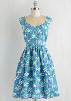 Gone Stamping Dress in Pineapple by Mata Traders - Novelty Print, Print, Fruits, Eco-Friendly, Sleeveless, Spring, Summer, Mid-length, Cotton, Woven, Blue, Pockets, Variation, Work, Daytime Party, Food, Fit & Flare, Rockabilly, Vintage Inspired, 50s