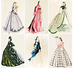 Walter Plunkett design sketches for Vivien Leigh's role as Scarlett O'Hara in Gone With the Wind Helen Rose, Best Costume Design, Mia Farrow, Scarlett O'hara, Vivien Leigh, Bob Mackie, Gone With The Wind, Great Movies, Sketches