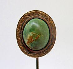 "Estate 14K Yellow Gold Green Turquoise Lapel Stick Pin 2.78 Grams 2 7/8"""