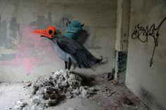 Kim Köster - Bird Ride -- http://andberlin.com/2012/10/10/art-on-a-crumbling-canvas-papierfabrik-wolfswinkel/