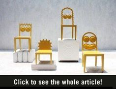 """The Simpsons as chairs; Bangkok-based designers Studio have released these cool Simpsons-inspired chairs as part of their """"Caricature as furniture"""" collection. Unique Furniture, Furniture Design, Milan Furniture, Smart Furniture, Street Furniture, Funky Furniture, Muebles Art Deco, Cafe Chairs, Dining Chairs"""