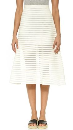 Cynthia Rowley Миди-юбка из денима с сетчатыми вставками