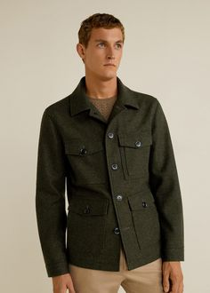 16395e93613 Multi-pocket wool-blend jacket