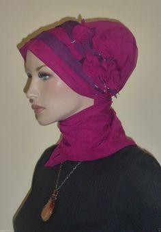A Magenta Elegant Chiffon Hijab Turban Chemo by ElegantHijabscarf,