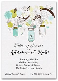 Tree of Blue Mason Jars Party Invitations - (other colors available) perfect for summer party invitations, bridal shower invitations, birthday party invitations | Come see our entire invitation collection at Announcingit.com