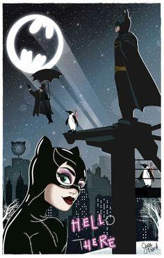 Catwoman & Batman - Art Illustration By @gwuenillustrates Source Instagram #GwuenIllustrates #Catwoman #Batman #Penguin #HelloThere #HellHere