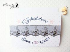 Carte personnalisée mariage Emma & Charles rose par PlumetisJoli, €5.00