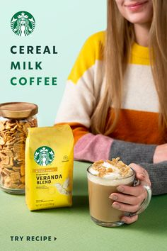 Starbucks Cereal Milk Coffee recipe is here and ready to make your mornings nostalgically delicious! Grab some Veranda Blend and a box of your favorite sugary cereal to try out this sweet cereal-flavored coffee. Fun Baking Recipes, Milk Recipes, Coffee Recipes, Sweet Recipes, Snack Recipes, Dessert Recipes, Desserts, Starbucks Drinks, Coffee Drinks