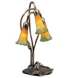 """16""""H Amber/Green Pond Lily 3 Light Accent Lamp"""