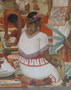 Woman in Quechquemitl:  woman in this detail of one of Diego Rivera's National Palace murals is shown wearing a cape called a quechquemitl. This garment dates b...
