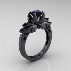 Classic Angel 14K Matte Black Gold 1.0 Ct Black Diamond Solitaire Engagement Ring R482-14KMBGBD