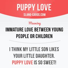 "slangcards: "" ""Puppy love"" means immature love between young people or children. Example: I think my little son likes your little daughter. Puppy love is so sweet! Get our apps for learning English: learzing.com """
