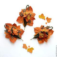 Купить Брошь из кожи Зонтик Осеннее настроение зеленый с рыжим - украшения ручной работы