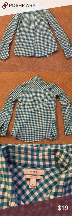 ⭐️sale⭐️J. Crew flannel Teal/white J. Crew flannel• size 0• perfect fit J. Crew Tops Button Down Shirts