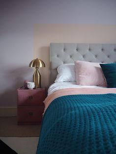 Pink and peach pastel bedroom. Light pink bedroom. Dressing table area. Paint effect. Painted headboard. Bedroom decor. Bedroom Inspo. Pink Interiors. Teal.