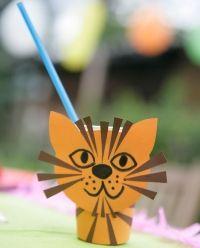 Kostenlose Bastelvorlage Party-Becher: Tiger zum Basteln