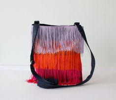 Bolso Malva, Naranja, Fucsia - Flecos de LoLahn Handmade - Bolsos, mochilas, cuellos, sombreros y gorras. por DaWanda.com