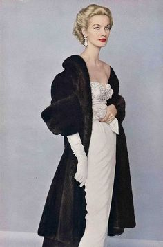 1952 #EasyNip. That dress is still wearable today.   *I wouldn't wear fur as a general rule, but if animals weren't abused to obtain the fur, I don't mind others wearing it -m