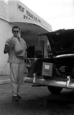 James Dean, during a break while filming Giant, 1956.