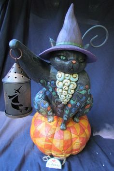 "JIM SHORE ""ON THE NIGHT WATCH"" IN BOX 2007 HALLOWEEN CAT WITH LANTERN N/R"