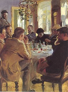 """Peder Severin Krøyer (Danish,1851-1909) """"At Lunch"""" ~ Picture shows some of the Skagen Painters eating lunch at Brøndum's Hotel in 1883."""