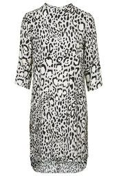 Monochrome Animal Print High Neck Dress