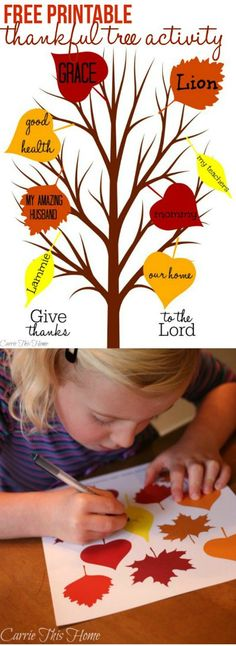 This 5 minute Thankful Tree Activity is a great way to teach contentment & thankfulness to your kids! Thankful Tree Activity {Free Printable} #thanksgiving