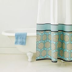 Shower curtain tutorial.  Love how this is pieced together.  Would sew it though instead of using fusible interfacing.