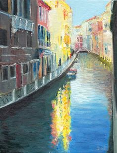 """Venice Sunshine.  The afternoon sun lights canal side buildings in Venice, Italy. Original painting by Dai Wynn in oils on canvas panel using a brush and palette knife. 22.86cm high X 17.78cm wide (9"""" X 7"""") approximately.  SOLD."""