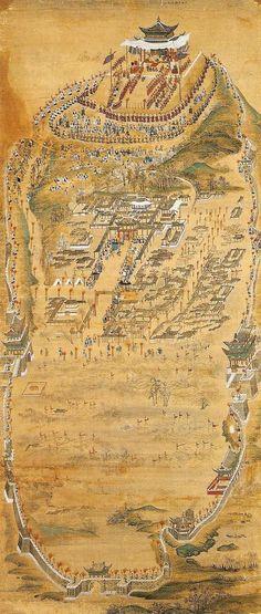 화성능행도 병풍, King Jung-jo's royal procession to Hwasung, Korea Korean Painting, Chinese Painting, Korean Art, Asian Art, Modern Pictures, Asian History, Old Maps, Korean Traditional, Old Paintings