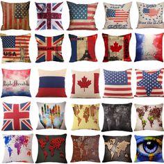 Bandeira Vintage & Mundo Mapa Fronhas Sofá Algodão e linho, Capa De Almofada Home Decor