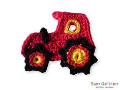 Mini - Traktor - gehäkelte Applikation
