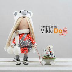 Textile Doll Bear-Kitting cap-White scarf-Little Girl-Interior doll-Baby Doll-Gift for Girl-Blond Hair-Fabric-Tilda-Vehicle by VikkiDoLis on Etsy