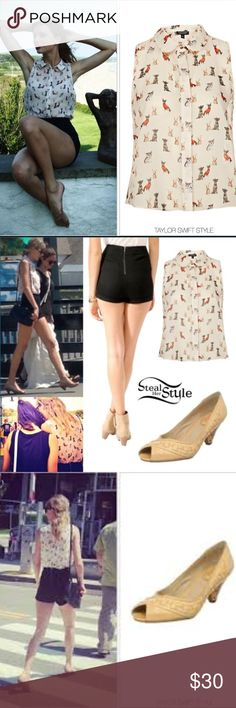 Topshop Natural Sleeveless Crop Dog Shirt Collared Dog Print sleeveless button down crop top as seen on Taylor Swift with metal hardware on the collar. Topshop Tops Tank Tops
